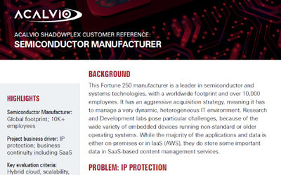 Acalvio ShadowPlex Customer Reference Semiconductor