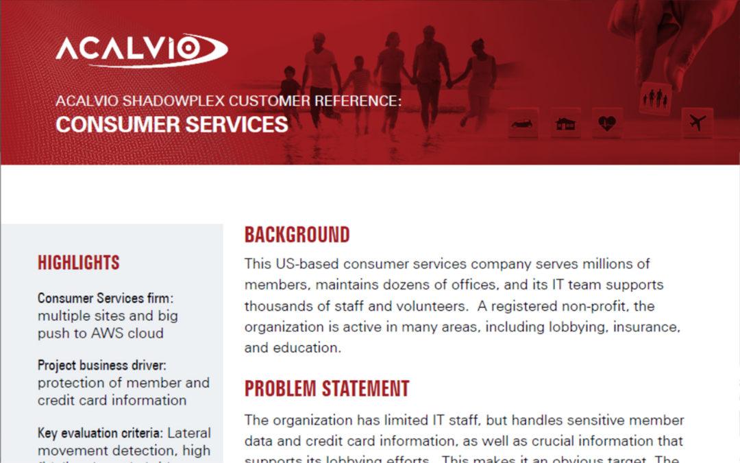 Acalvio Customer Reference Consumer Services
