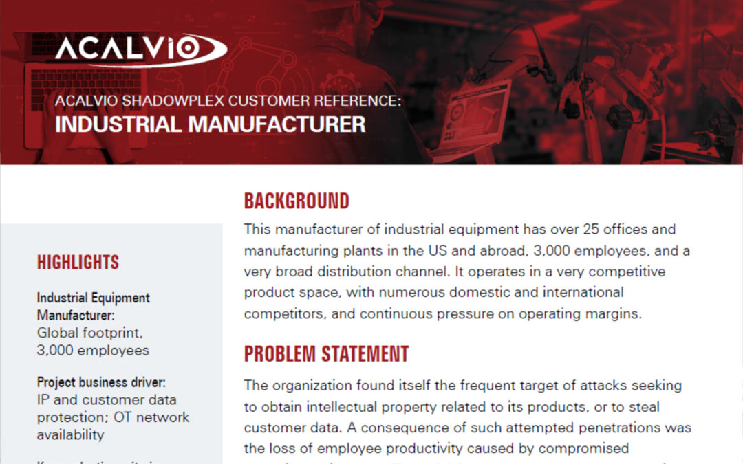 Customer Reference Industrial Manufacturer